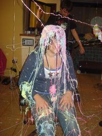 Jessie with silly string