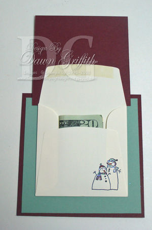 Mini envelope money holder opened By Dawn Griffith