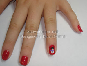 Snowman on nail with acrylic by Dawn Griffith
