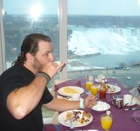 Breakfast over looking the falls