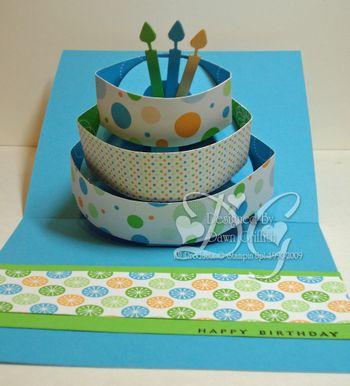 Make a wish Pop up birthday cake inside Dawn Griffith