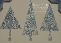 Night of navy & Bordering blue Patterned pines upclose