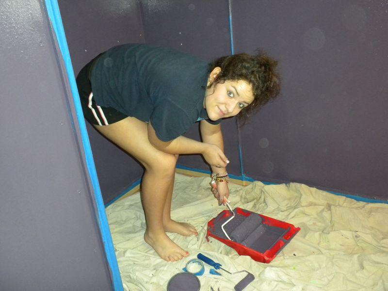 Jessie painting  her closet