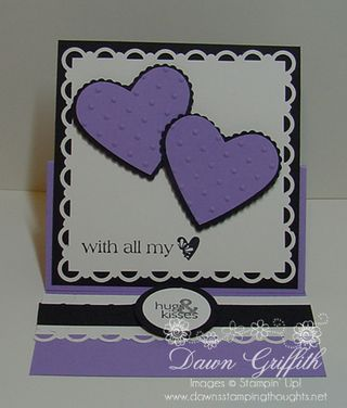 Easel card opened lavender lace
