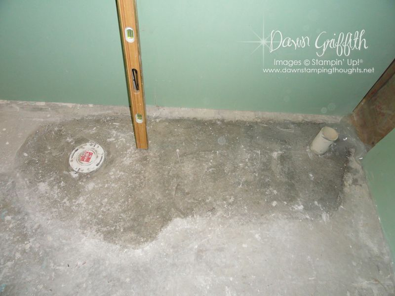Bathroom #3 drains moved and cement done