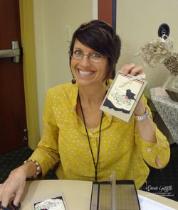 Shelli with her  swap card