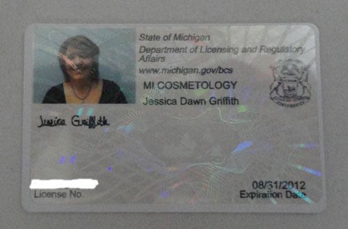 Jessie's Cosmetology license