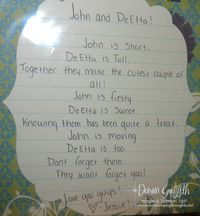 Jessies poem for John and DeEtta