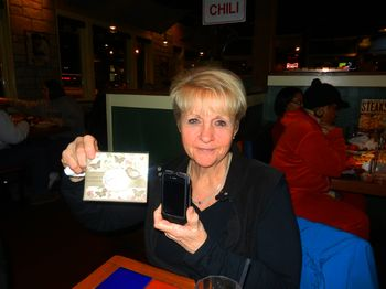 Mom with her card and new phone case