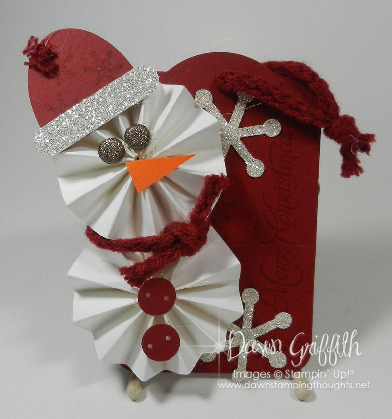 Snowman Gift tag Cherry Cobbler