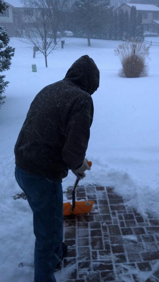 Dad shoveling snow 12-26-2012