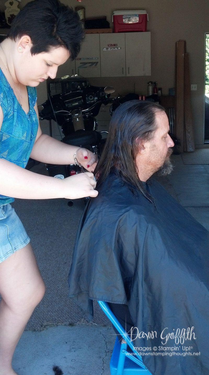 Jessie cutting Dads hair