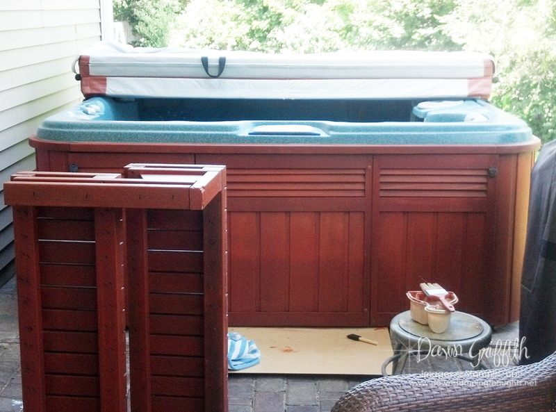 Hot tub 1st coat of stain
