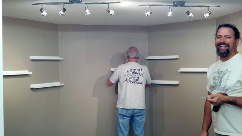 The Boys adding shelfs  to my Inspriational wall
