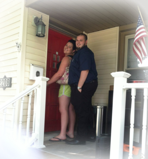 Jess and Pat front door to new home