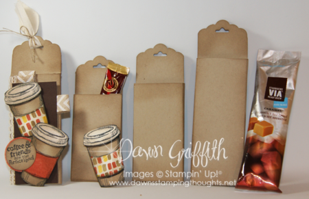 Scallop Tag Coffee Packet Holder different sizes