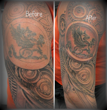 Before & After Griffin tattoo touch up