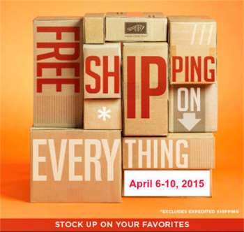 FREE shipping  on everything  April 6th until April 10th