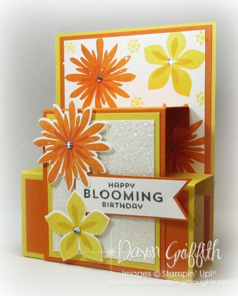 Blooming Birthday Hawaiian Blog Hop  step panel card Dawn Griffith A