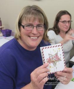 Hostess Peggy with her hostess cards