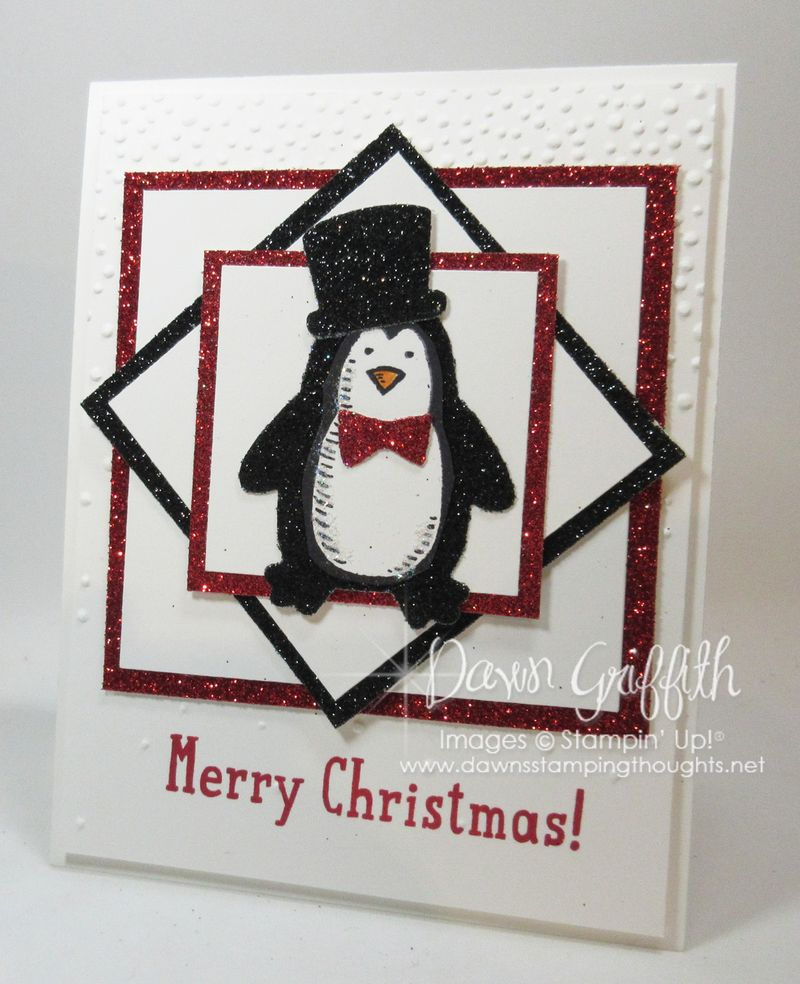 Sparkly Penguin Chrostmas card stampers  club Nov 2015 Dawn Griffith