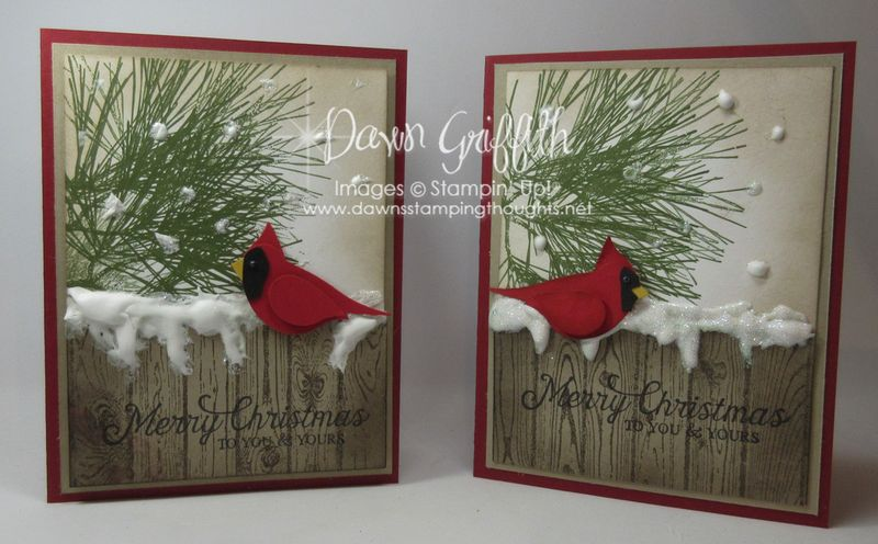 Merry Christmas Cardinal puffy paint Stampin'Up! Dawn Griffith