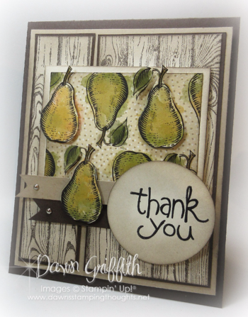 #1 Farmers Market DSP card  by Dawn Griffith Stampin'Up! Demonstrator  check out my blog for all the details on this card .