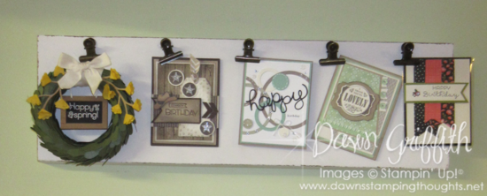 Happy Spring Wreath on displayin my studio Dawn Griffith Stampin;'Up! demonstrator  join Paper Pumpkin today more details on my blog