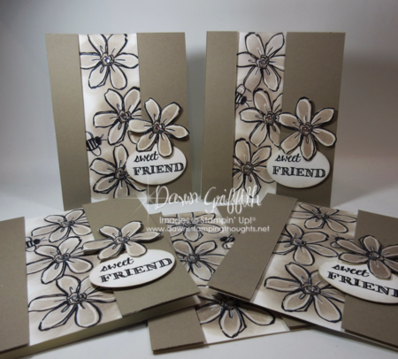 Sweet Friend cards I made for my stamp club hostess   by Dawn Griffith Stampin'Up! demonstrator Check out my blog for the video on this card  using Garden in Bloom stamp set and  the Chalk Marker 132133  from