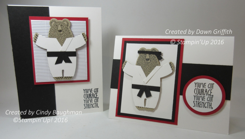 Karate Bears cards Cindy Baughman and Dawn Griffith check out my blog today on how  we made this adorable Karate Bear Stampin'Up! demonstrator