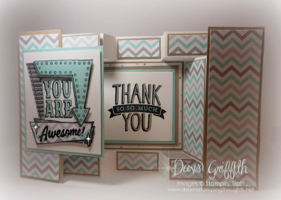 #1 You Are Awesome  large square  double display  ard Dawn Griffith Stampin Up demonstrator  a Litte Foxy designer paper