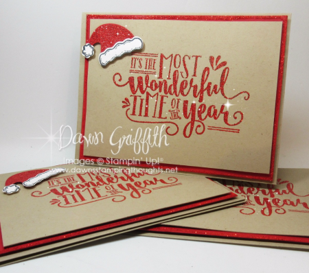 #1 Most Wonderful Time of Year swap cards Dawn Griffith Real Red Stampin Emboss powder