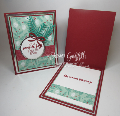 Christmas Pines Cards front and inside Dawn Griffith