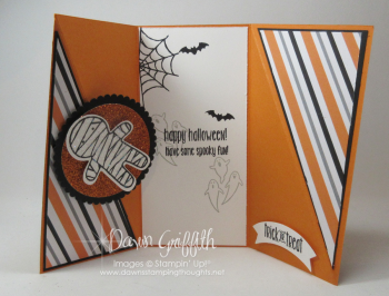 Diagonal Gate fold Halloween card inside Dawn Griffith