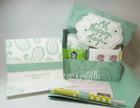 Oh Happy Day Stationary Box  Mint Macaron openedwith card  Dawn Griffith