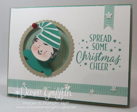 Christmas Cheer Action Wobble Elf card Dawn Griffith