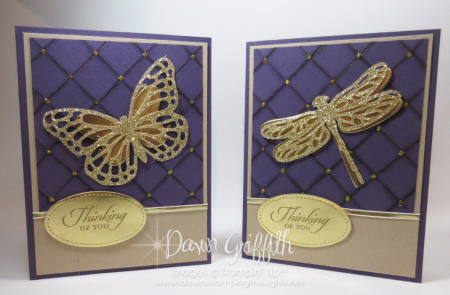 Thinking of You Butterfly and Dragonfly Sympathy Faux Quilt cards by Dawn Griffith