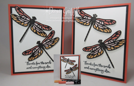 Stained Glass Dragonfly Calypso Coral Dawn Griffith Stampin up