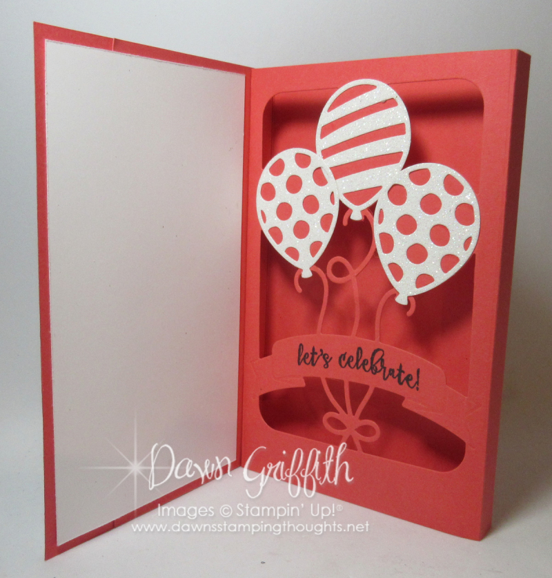 Shadow Box Balloon Pop up  with Dawn Watermelon Wonder inside Stampin'Up!