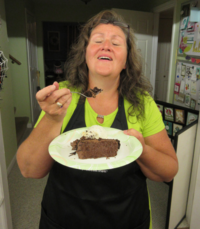 Late night snack Double chocolate fudge cake so yummy