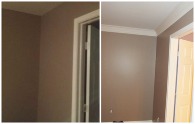 Before and After crown molding in master bedroom