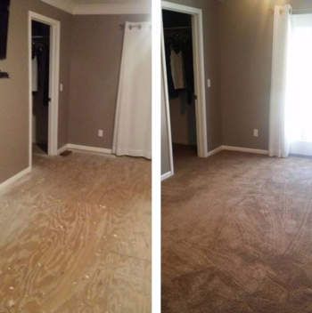 Before and After  new carpet in master bedroom