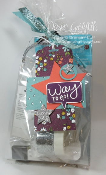 Way to Go gift tag with goodies