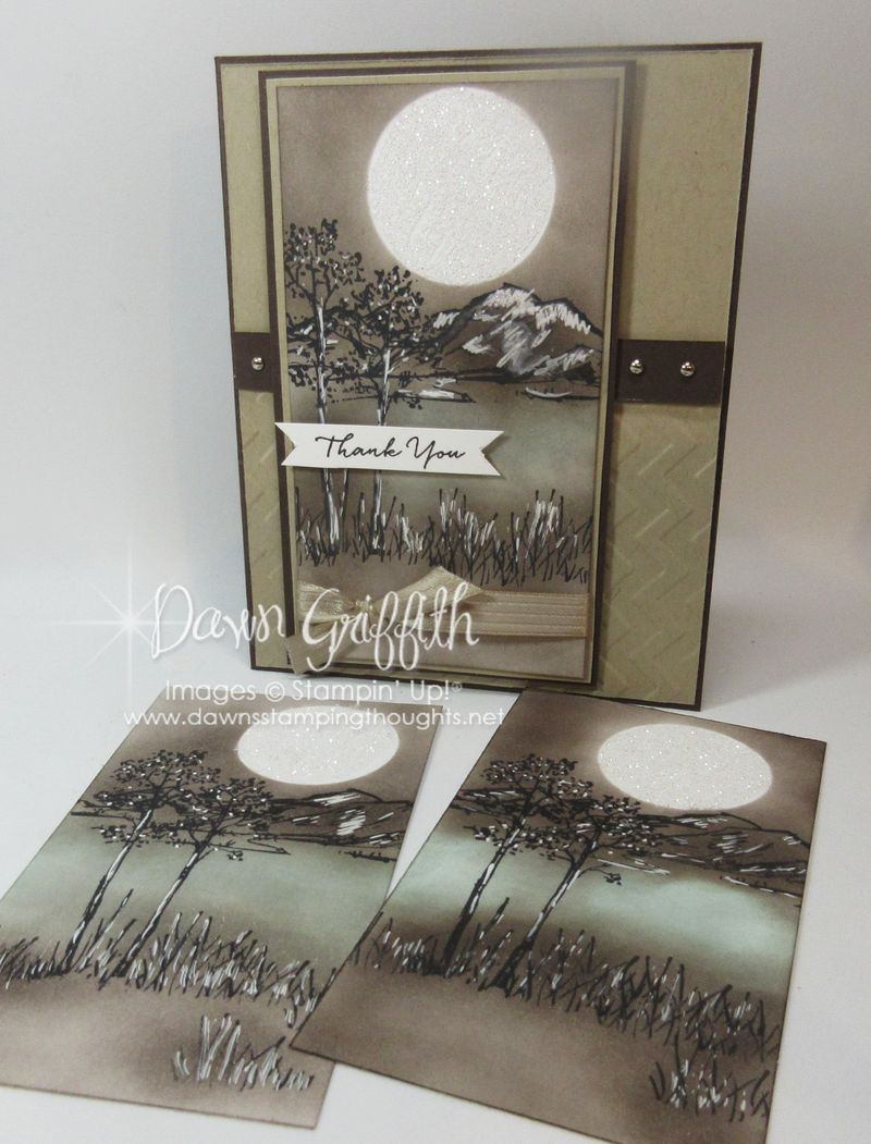 In The Meadow Stamp set  Mountain  Scene Dawn Griffith Stampin Up! Demonstrator  check out  my video on how I made this  mountain scene on my blog