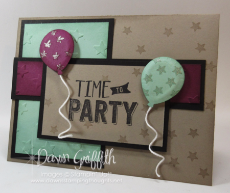 Time to Party birthday card front with Puffy Balloons by Dawn Griffith Stampin'Up! demonstrator New catalog stamp set Confetti Celebrations