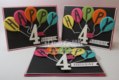 How to make puffy Balloons birthday cards  video  with Dawn Griffith Stampin Up! Demonstrator