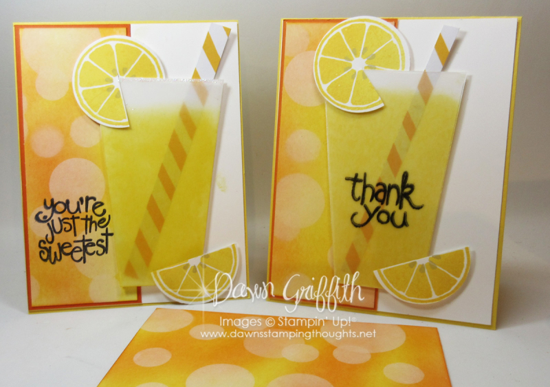 Lemonade cup cards Vellum card stock posted a video on how I made this cup Dawn Griffith Stampin'Up!