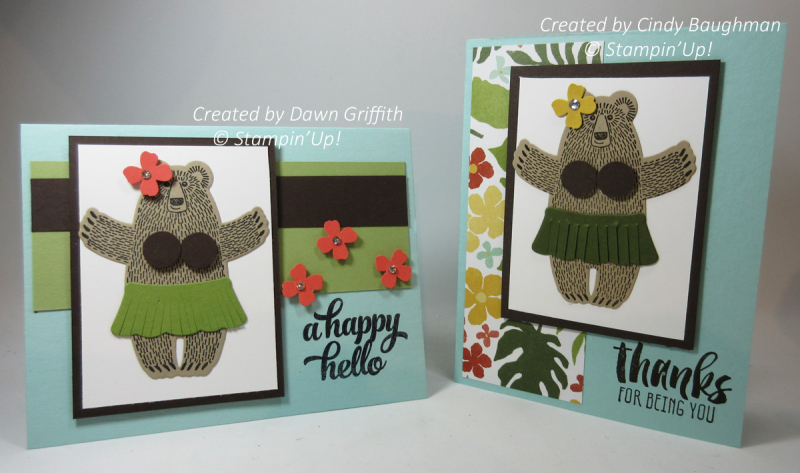 Hula Bear cards By Cinday Baughman and Dawn Griffithj check out the video on on my blog on how  to make this adorable Hula Bear