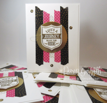 Lifes a journey cards Dawn Griffith Stampin up Demonstrator  Pop of Pink Washi Tape