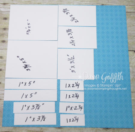 Cutting Festive Birthday designer paper for Split top gift box with Dawn Griffith Stampin Up
